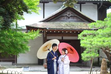 長浜慶雲館でのロケーションフォトウェディング 白無垢・カラードレス