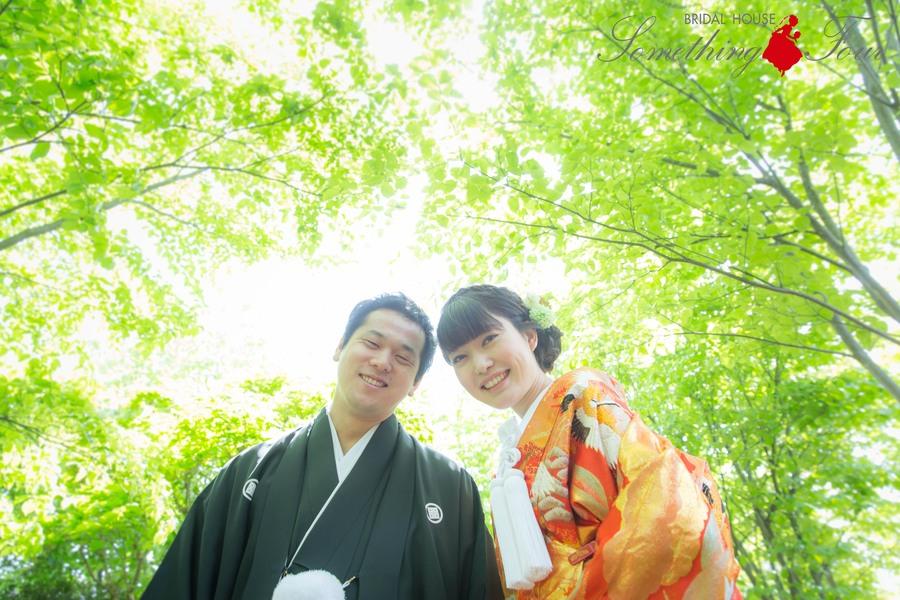 新緑の中で色打掛ブライダルフォト【滋賀県彦根城】