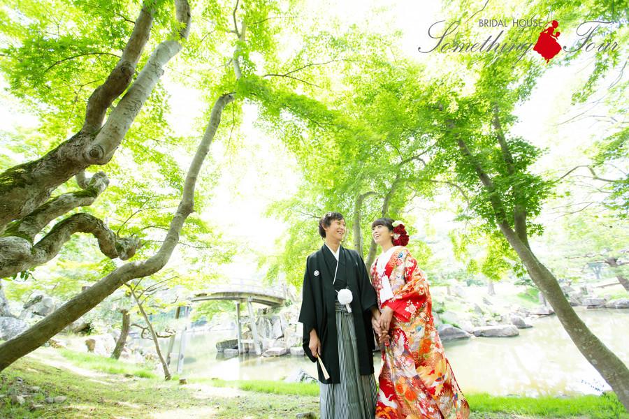 玄宮園で和装結婚写真【滋賀県彦根市】