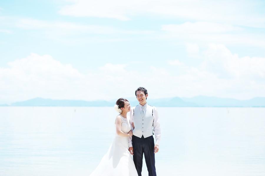 琵琶湖でウェディングドレスの前撮り撮影をするならブライダルフォトワークスへ